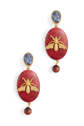 Cayenne Fly Stone Earrings by Oscar de la Renta
