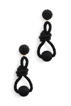 Black Beaded Knot Earrings by Oscar de la Renta