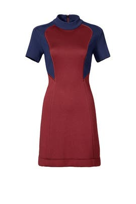 Burgundy Block Dress by Cedric Charlier