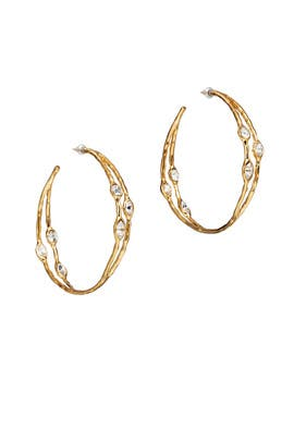 Gold Teardrop Hoop Earrings by Kenneth Jay Lane