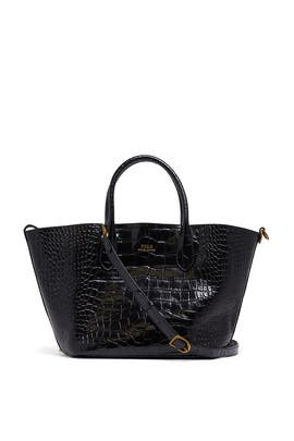 Black Croc Medium Tote Bag by Polo Ralph Lauren Accessories
