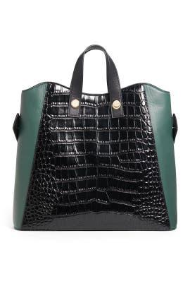 Black Croc Friday Shopper Tote by Lizzie Fortunato