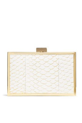 White Corsica Scale Clutch by Inge Christopher