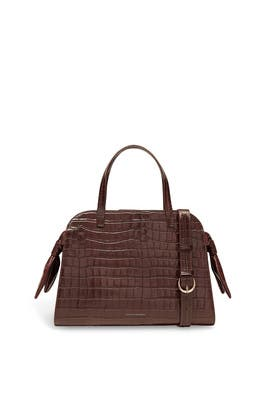 Dark Brown Clarice Satchel Bag by Loeffler Randall