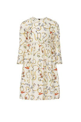 Kids Cream Animal Printed Dress by Marni Kids