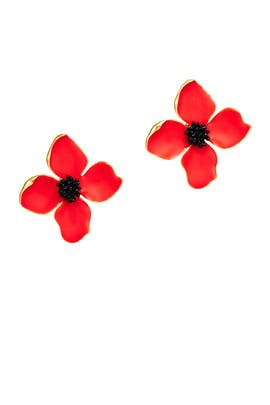 Red Painted Flower Earrings by Oscar de la Renta