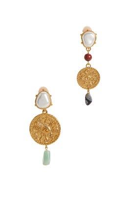 Gold Coin Clip Earrings by Oscar de la Renta