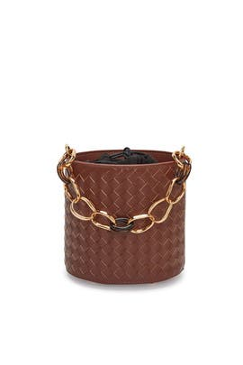 Woven Leather Florent Bucket Bag by Lizzie Fortunato