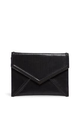 Black Leather Envelope Clutch by Sondra Roberts