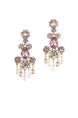 Purple Crystal Flower Bold Earrings by Oscar de la Renta