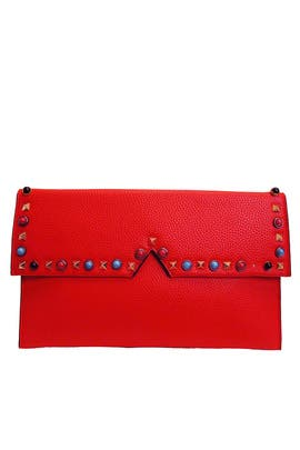 Red Studded Clutch by Sondra Roberts