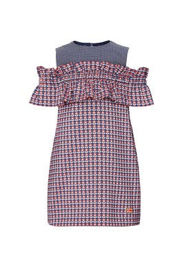 Kids Stitched Red and Navy Dress by Fendi Kids