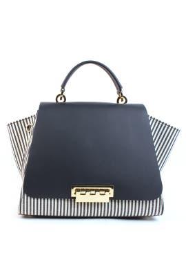 Navy Striped Eartha Iconic Handbag by ZAC Zac Posen Handbags