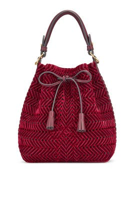 Oxblood Neeson Drawstring Bag by Anya Hindmarch