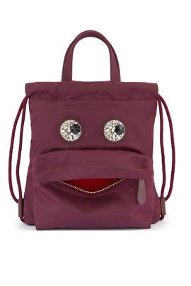 Claret Mini Crystal Eyes Drawstring Backpack by Anya Hindmarch