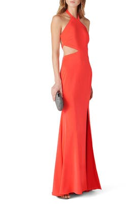 Coral Mermaid Gown by Love by Theia