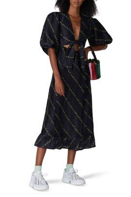 Black Silk Linen Dress by GANNI