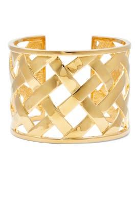 Gold Basketweave Cuff by Kenneth Jay Lane