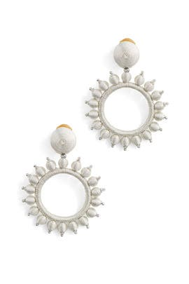 Silver Embellished Circular Mirror Earrings by Oscar de la Renta