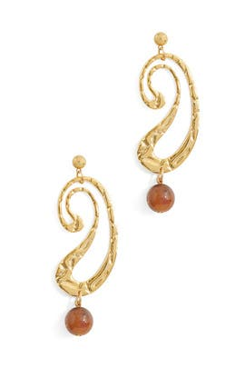 Tawny Marble Swerve Earrings by Rachel Comey Accessories