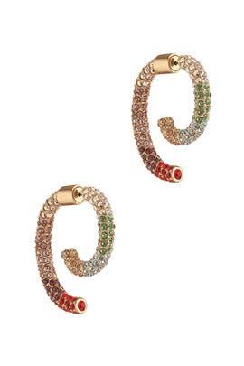 Multi Rainbow Allover Pave Luna Earrings by DEMARSON