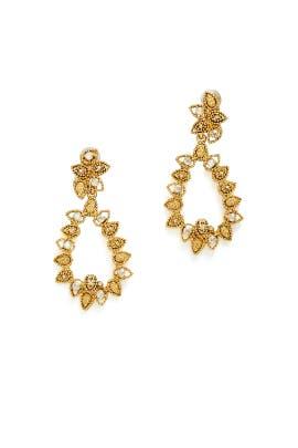 Gold Petal Drop Earrings by Oscar de la Renta