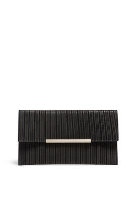 Black Leather Flap Clutch by Sondra Roberts