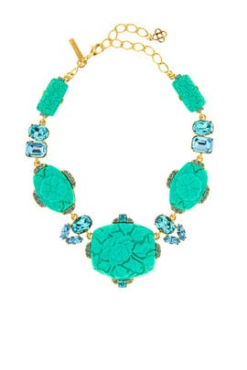 Aqua Resin Crystal Necklace by Oscar de la Renta