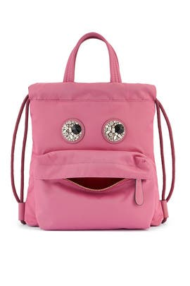 Light Clay Mini Crystal Eyes Drawstring Backpack by Anya Hindmarch