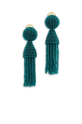 Teal Short Tassel Earrings by Oscar de la Renta