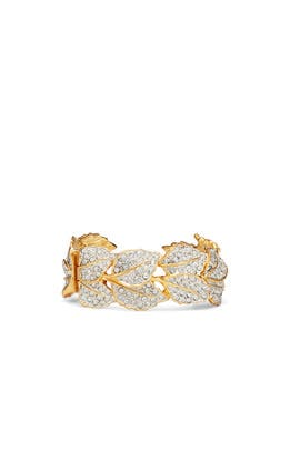 Crystal Leaf Cuff Bracelet by Kenneth Jay Lane