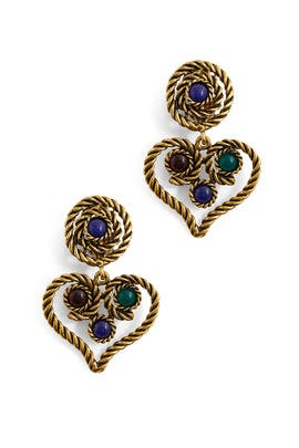 Rope Heart Drop Earrings by Kenneth Jay Lane