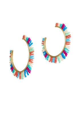 Bright Beaded Fringe Hoops by Rebecca Minkoff Accessories