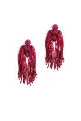 Ruby Beaded Waterfall Earrings by Kenneth Jay Lane