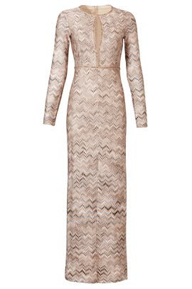 Natural Zig-Zag Gown by Missoni