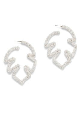 White Beaded Palm Leaf Earrings by Sachin & Babi Accessories