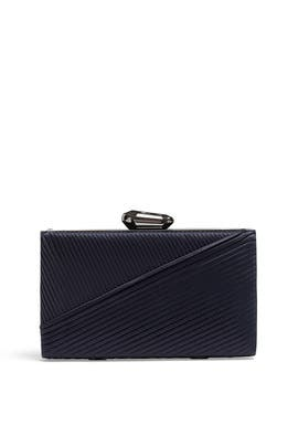 Navy Satin Pleated Clutch by Sondra Roberts