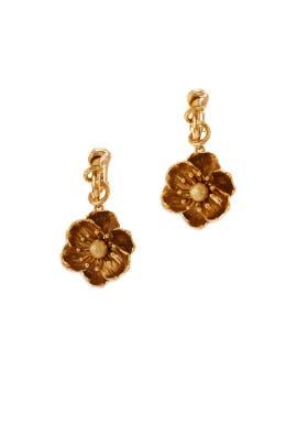 Poppy Flower Earrings by Oscar de la Renta
