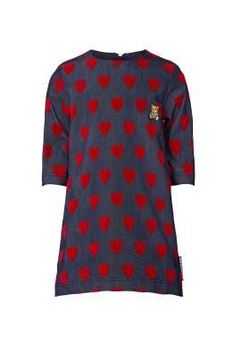 Kids Denim Heart Print Dress by Moschino Kids