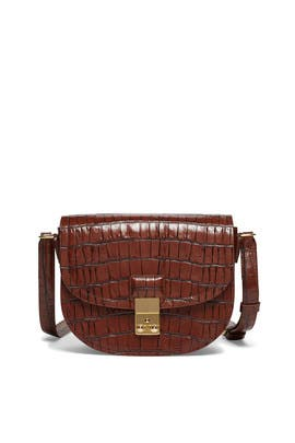 Chestnut Croc Pashli Saddle Bag by 3.1 Phillip Lim Accessories