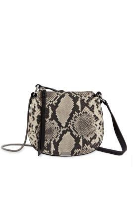 Snake Print Mini Round Crossbody Bag by AllSaints
