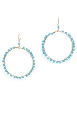 Blue Beaded Hoop Earrings by Ettika