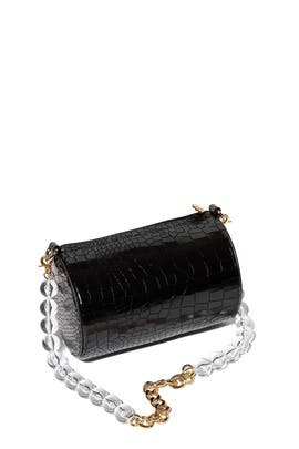 Black Croc Charlie Bag by Lele Sadoughi