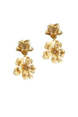 Gold Bold Flower Drop Earrings by Oscar de la Renta