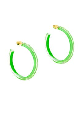 Neon Green Medium Jelly Hoops by Alison Lou