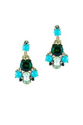 Cyan Crystal Chandelier Earrings by Oscar de la Renta