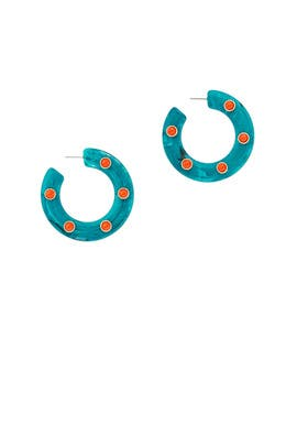 Turquoise Coral Hoops by Area Stars