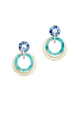 Green Double Ring Hoop Earrings by Lele Sadoughi
