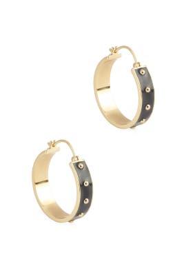 Black Enamel Gold Jax Small Hoops by Gorjana Accessories