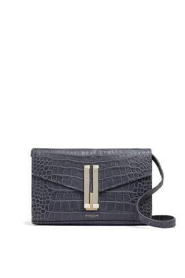 Grey Mock Croc Quebec Crossbody by DeMellier London